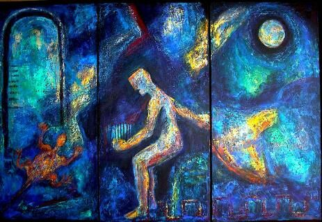 Dance for the Moon - Painting ©2000 by Martha Elisa Bojórquez -                        Abstract Expressionism