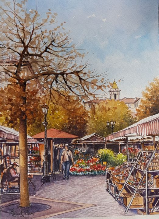 Cours Saleya Marché aux fleurs NICE - Painting,  14.2x10.2 in, ©2017 by Marcel Boos -                                                                                                                                                                          Figurative, figurative-594, Cityscape