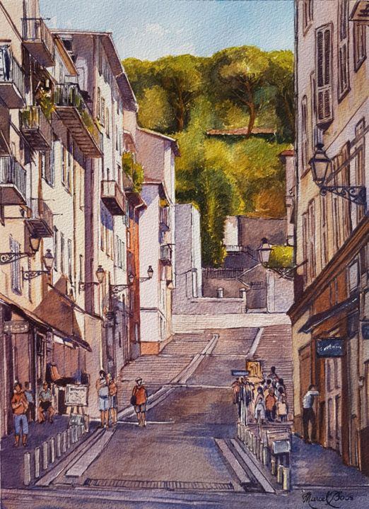 rue-du-vieux-nice-rue-rossetti.jpg - Painting,  14.2x10.2 in, ©2017 by Marcel Boos -                                                                                                                                                                          Figurative, figurative-594, Cityscape