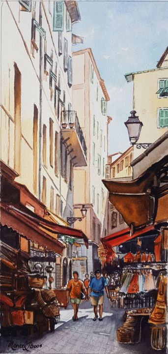 ruelle-du-vieux-nice-4.jpg - Painting,  10.2x7.1 in, ©2017 by Marcel Boos -                                                                                                                                                                          Figurative, figurative-594, Cityscape
