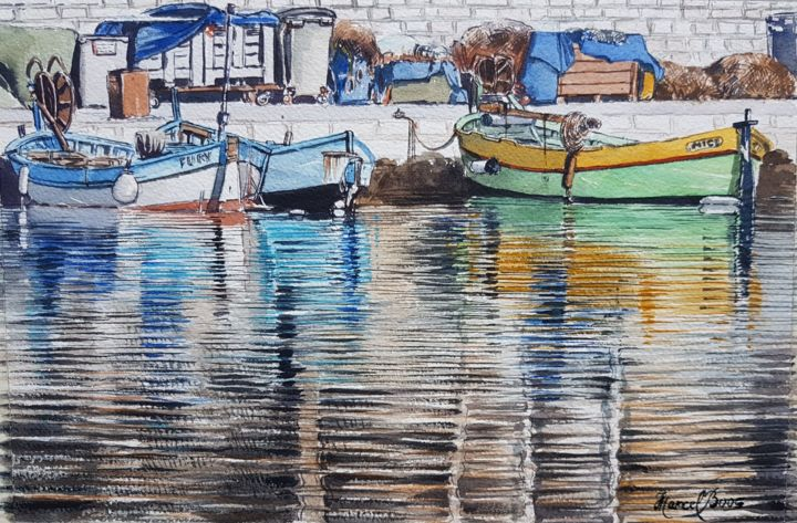 Barques au Port du Cros de Cagnes - © 2018 Pointus, barques, pêche, port, mer Online Artworks