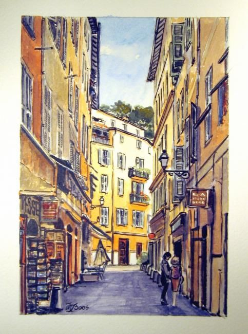 ruelle dans le vieux nice 1 aquarelle. Black Bedroom Furniture Sets. Home Design Ideas