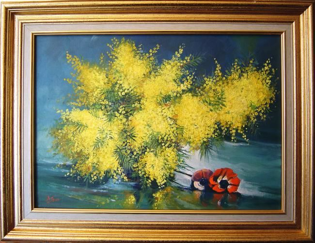 Mimosa - Painting,  13x18.1 in, ©2006 by Marcel Boos -