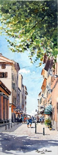 Ile Rousse   le Marché 8 - Painting,  15x5.5 in, ©2007 by Marcel Boos -