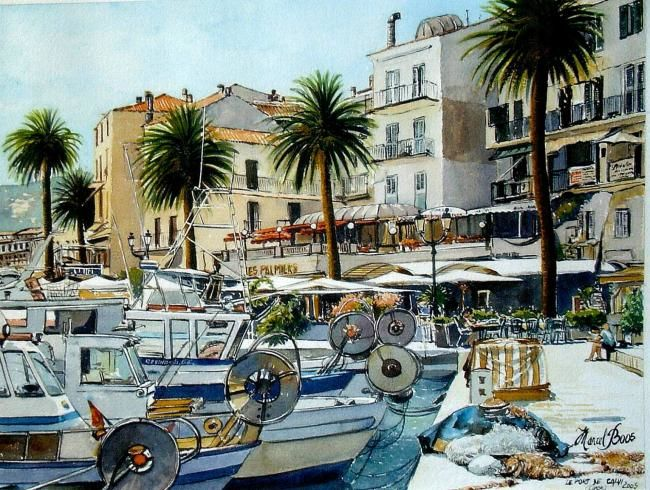 Calvi, le port - Painting,  10.2x14.2x0.4 in, ©2007 by Marcel Boos -