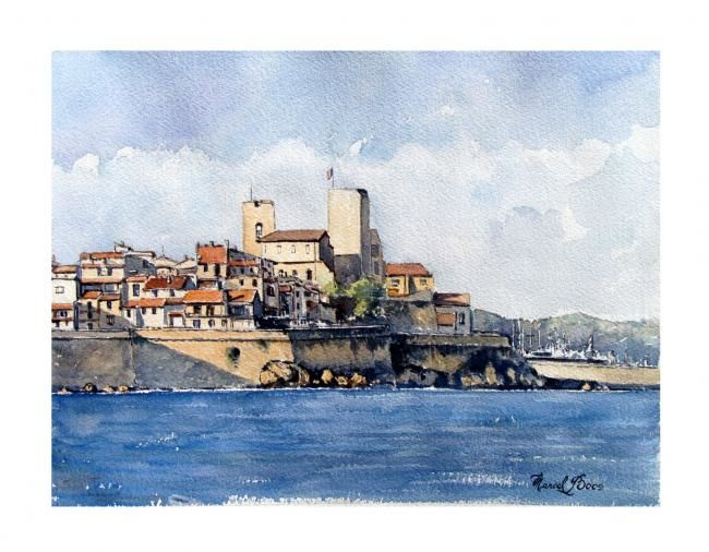 Antibes - Painting,  36x26 cm ©2008 by Marcel Boos -