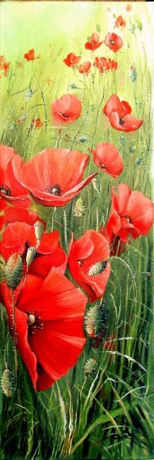 Coquelicots - Painting,  35.4x11.8 in, ©2008 by Marcel Boos -