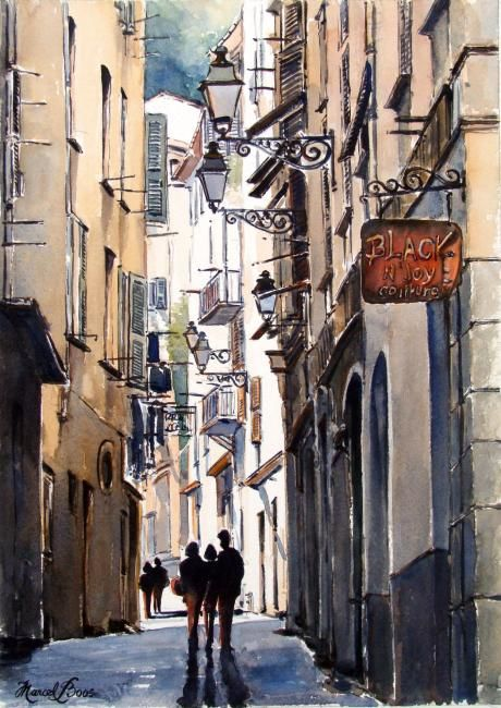 Vieux Nice 4 - Painting,  15x11 in, ©2008 by Marcel Boos -