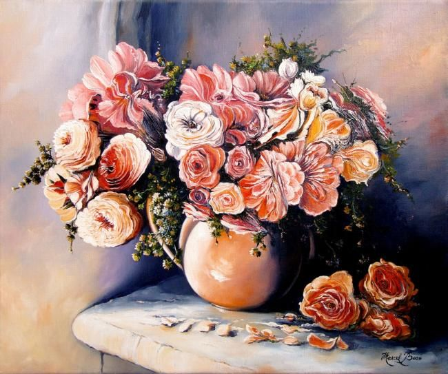 Pivoines - Painting,  46x38 cm ©2008 by Marcel Boos -