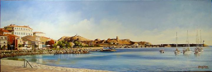 Panoramique d'Ile Rousse (Corse) - Painting,  15.8x47.2 in, ©2006 by Marcel Boos -