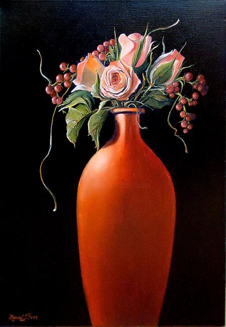 Le vase rouge - Painting,  21.7x15 in, ©2010 by Marcel Boos -