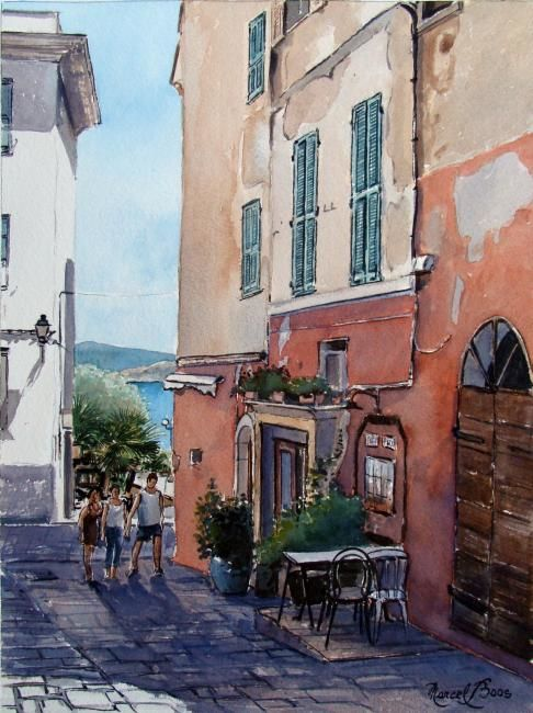 Ile Rousse - Painting,  14.2x10.2 in, ©2010 by Marcel Boos -