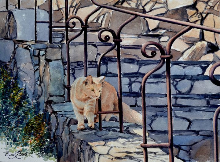 chat-caramel-r - Painting,  36x26 cm ©2013 by Marcel Boos -                            Realism, Chat Caramel