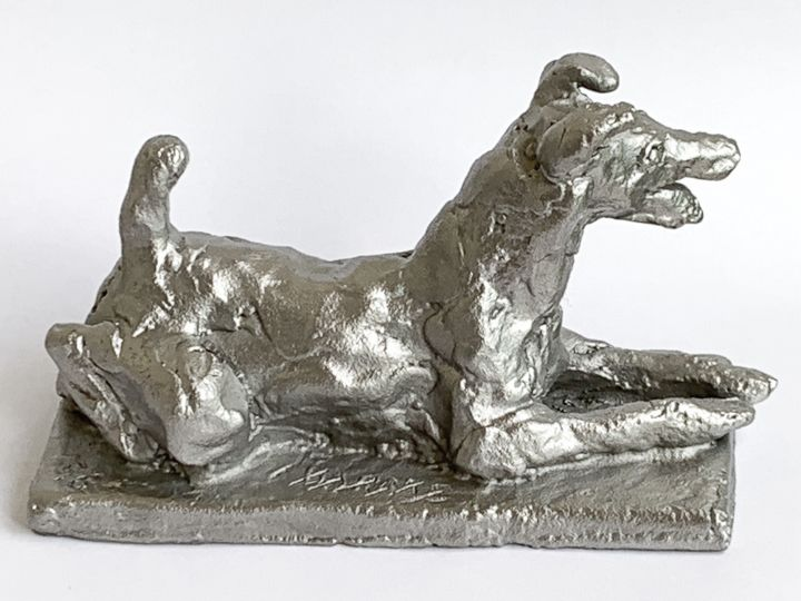FOX TERRIER POIL LISE - Sculpture ©2019 by Barake Sculptor -                                                                                                            Expressionism, Impressionism, Modernism, Realism, Stainless Steel, Animals, Dogs, sculpture, stainless steel, acier inoxidable, impressionism, fox terrier, dogs, chien