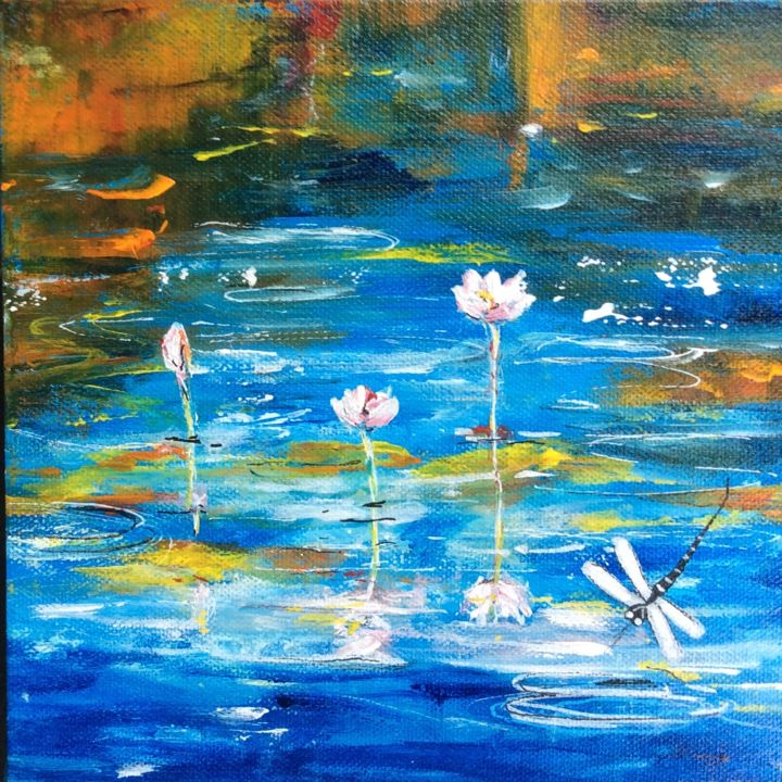 """Painting titled """"""""Dragonfly Fun"""" by Bernadette Cavanough, Original Art, Acrylic Mounted on Stretcher frame"""