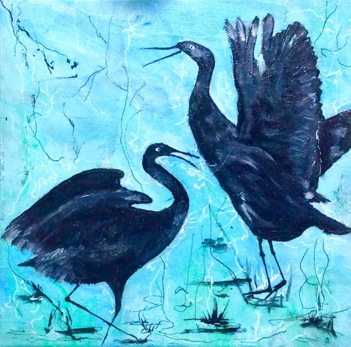 """Painting titled """""""" Dance with me"""""""" by Bernadette Cavanough, Original Art, Acrylic Mounted on Stretcher frame"""