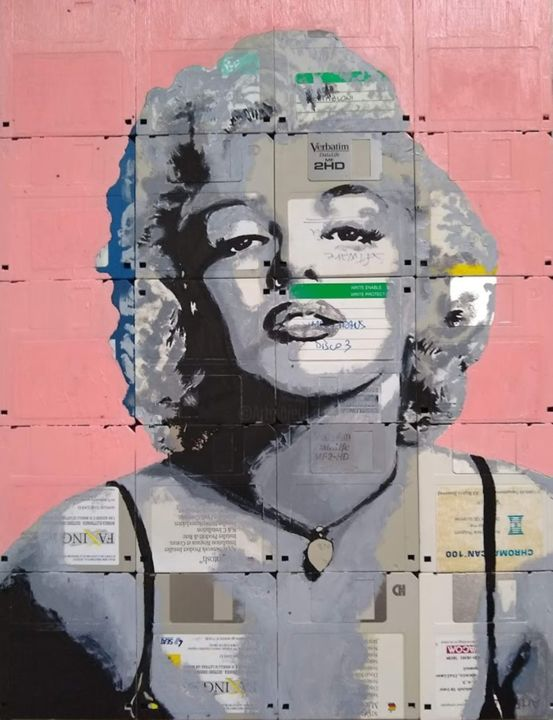 """Painting titled """"Marilyn"""" by Boriani 2.0, Original Art, Oil Mounted on Wood Panel"""