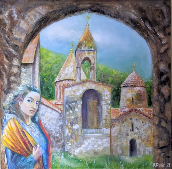 """Painting titled """"Artsakh: Lady with…"""" by Boris Deriy, Original Art, Oil"""