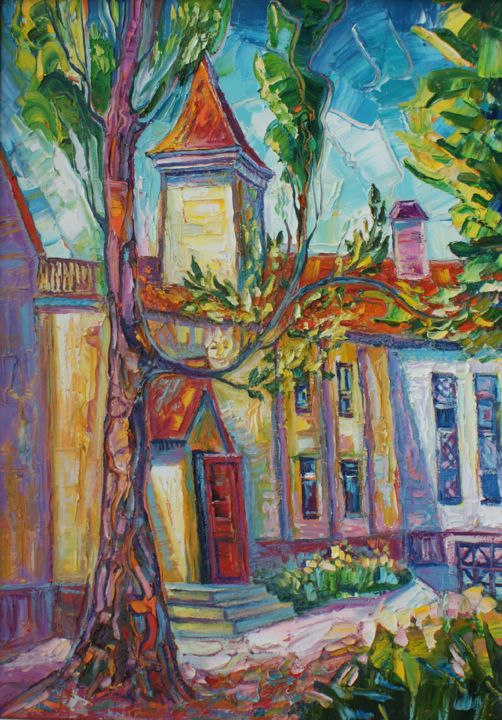 """Painting titled """"Home of the elf king"""" by Boris Zhigalov, Original Art, Oil"""