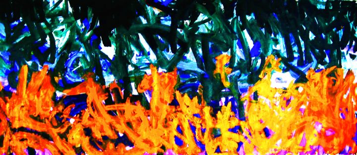 Blossoming Ddomain (Size 44 ft. by 10.10 ft.) - © 2005 Abstract expressionist, large canvas, (Size 44 ft. by 10.10 ft.) Online Artworks