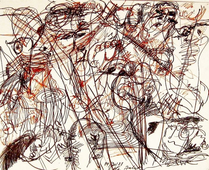 The celebration luncheon - Drawing,  40x30x0.3 in ©1988 by Peter Jalesh -                                                            Abstract Expressionism, Paper, Abstract Art, ink on cardboard, sioze 40 in. by 30 in.