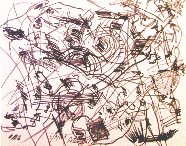 Motive after-Salvador-Dali II - Drawing,  40x30x0.3 in ©1988 by Peter Jalesh -                                                        Abstract Expressionism, Paper, Abstract Art