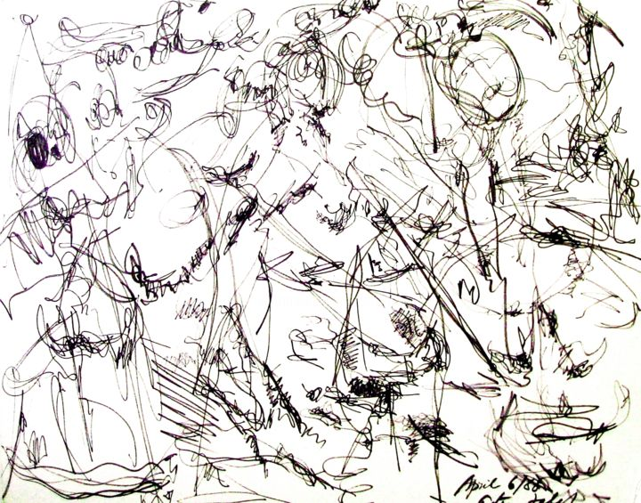 My window horizon limit - Drawing,  40x30x0.3 in ©1988 by Peter Jalesh -                                                            Abstract Expressionism, Paper, Abstract Art, ink on cardboard, size 40 in. by 30 in.