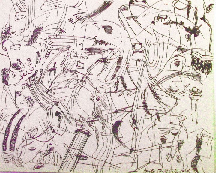 On defining abstract surrealism - Drawing,  30x40x0.3 in, ©1988 by Peter Jalesh -                                                                                                                                                                                                                                                                      Abstract, abstract-570, Abstract Art, ink on cardboard, size 40 in. by 30 in.