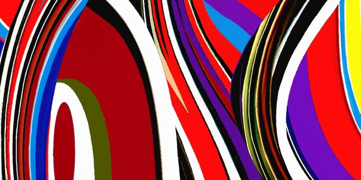 Sundown Horizon - Digital Arts,  14x6x0.1 in ©2013 by Peter Jalesh -                                                                        Abstract Art, Canvas, Paper, Abstract Art, red and orange, abstract landscape