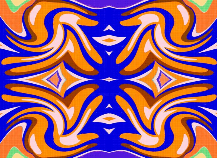 Medieval Rug Design - Digital Arts,  10x10x0.1 cm ©2019 by Peter Jalesh -                                                                        Abstract Expressionism, Canvas, Paper, Abstract Art, orange and blue, abstract