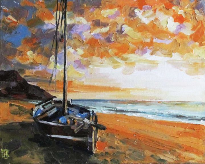 Golden sunset - Painting,  15.8x19.7x0.4 in, ©2015 by Kateryna Bortsova -                                                                                                                                                                                                                                                                                                                                                                                                                                                                                                                                                                                                                                      Impressionism, impressionism-603, Ships, Boat, Seascape, Landscape, Beach, landscape, sea sun, seascape, boat, sunset, gold