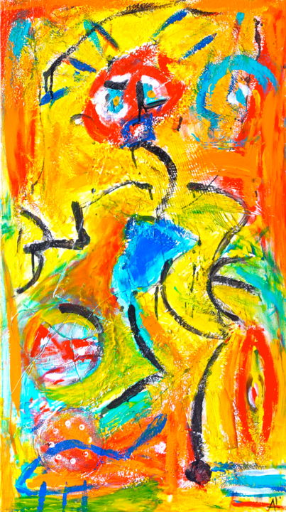 MASCARADE - Painting,  90x50 cm ©2012 by Alex BOUCAUD -                                                            Naive Art, Canvas, Abstract Art, paintings