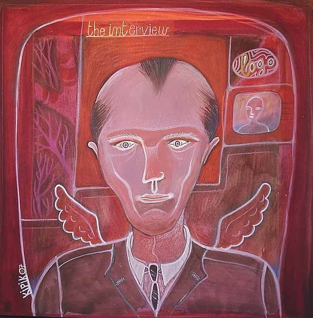 """Painting titled """"The Interview"""" by Kipik, Original Art,"""