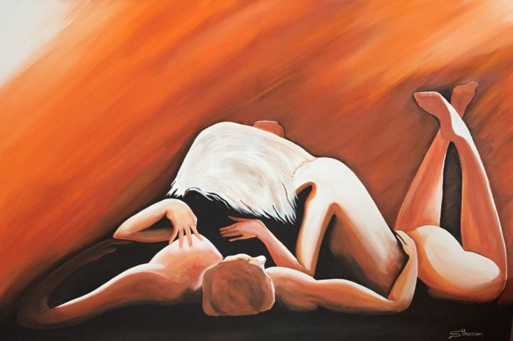 Les amants - Painting,  24x36x2 in, ©2019 by Sylvain Therrien -