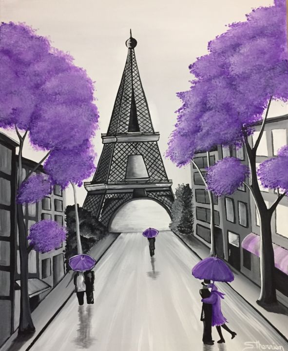 Le village mauve - Painting,  20x16x1 in, ©2019 by Sylvain Therrien -