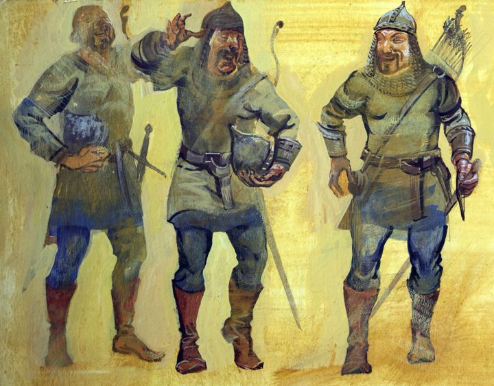 Soldiers2 / BG Book3 - Painting,  9.8x13x0.1 in, ©2016 by Boyan Yanev -                                                                                                                                                                                                                                                                                                                                                                                                                                                      Illustration, illustration-600, Body, Culture, Fairytales, History, Humor, warriors, fun