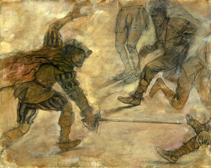 The Prince and the Pauper-scene 10 - Painting,  10.2x13x0.1 in, ©1991 by Boyan Yanev -                                                                                                                                                                                                                                                                                                                                                                                                                                                                                                                                                                                                                                                                                                                                                                                                                                                                                                              Illustration, illustration-600, Body, History, Men, World Culture, People, Mark Twain, Illustration, ThePrince and the Pauper, streeth fight, knight, London, sword, defender, Prince Edward, Miles Hendon, England, XVI century
