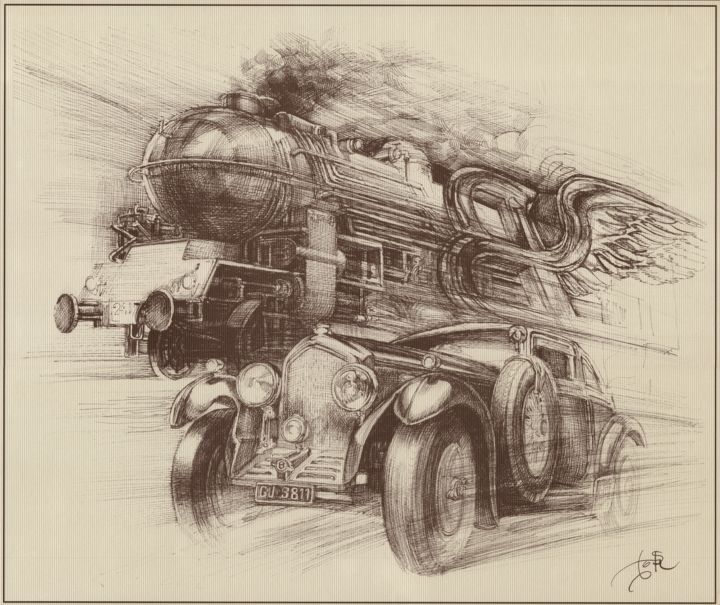 The Blue Train Race - Drawing,  153.5x181.1x0.1 in, ©2013 by Boyan Yanev -                                                                                                                                                                                                                                                                                                                                                                                                                                                                                                                                                                                                                                                                                                                                                                                                                                                                                                                                                                                                                                                                                              Illustration, illustration-600, Automobile, Black and White, Business, Car, Culture, Bentley, racing, train, Cannes, London, Woolf Barnato, Blue Train Races, speed, fine art, France, United Kingdom, rover, automobile, wing, fly, impetus