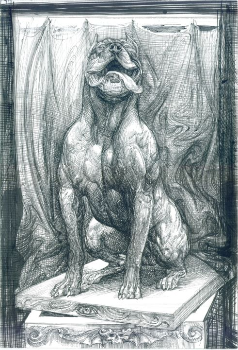 Pandora's-box - Drawing,  19.7x13.8x0.1 in, ©2020 by Boyan Yanev -                                                                                                                                                                                                                                                                                                                                                                                                                                                                                                                                              Illustration, illustration-600, Animals, Black and White, Classical mythology, Dogs, World Culture, Contemporary art, Bulgarian artist, Pit Bull, guard