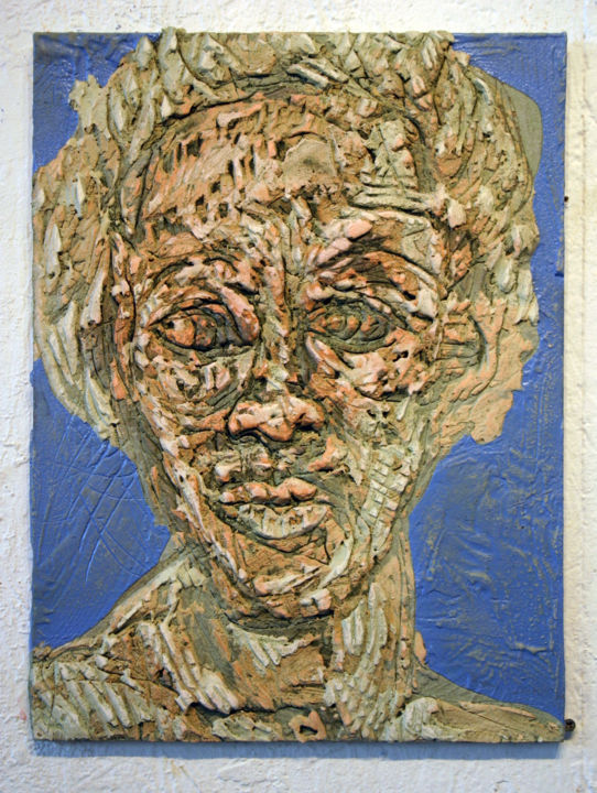 866-vf-49-30x40-2017.jpg - Painting,  15.8x11.8 in, ©2017 by Richard Brachais -                                                                                                                                                                                                                                                                                                                                                                                                                                                                                                                                                                                              Expressionism, expressionism-591, Other, Wood, People, Portraits, personne, portrait, bas-relief, platre, figure, figuration libre