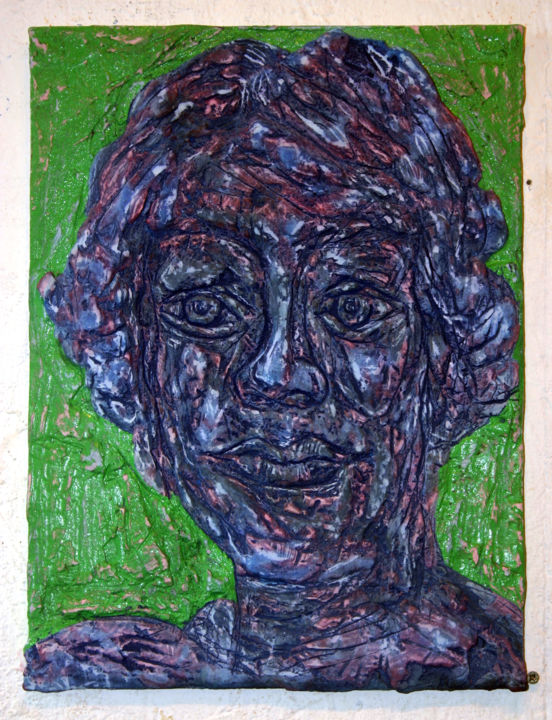870-vf-51-30x40-2017.jpg - Painting,  15.8x11.8 in, ©2017 by Richard Brachais -                                                                                                                                                                                                                                                                                                                                                                                                                                                                                                      Figurative, figurative-594, Other, Wood, Portraits, portrait, figure, figuration, portraiture, bas-relief