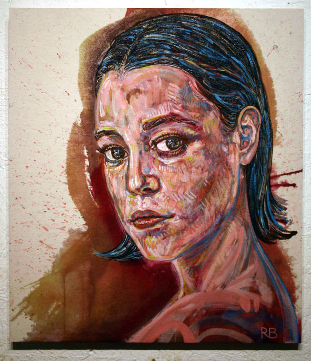 877p-pi-44x50-2018.jpg - Painting,  50x44 cm ©2018 by Richard Brachais -                                                                                                                                                Abstract Expressionism, Contemporary painting, Portraiture, Realism, Surrealism, Wood, Canvas, Women, People, Portraits, femme, personne, personnage, figure, figuration, portrait, réalisme, surréalisme