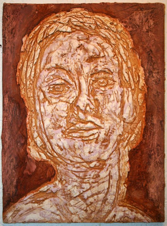 881-vf-53-30x40-2018.jpg - Painting,  15.8x11.8 in, ©2018 by Richard Brachais -                                                                                                                                                                                                                                                                                                                                                                                                                                                                                                                                                                                                                                                                                                                                                                              Outsider Art, outsider-art-1044, Other, Wood, Body, People, Portraits, cors, portrait, portraiture, personne, corps, figure, visage, expressionisme, art brut