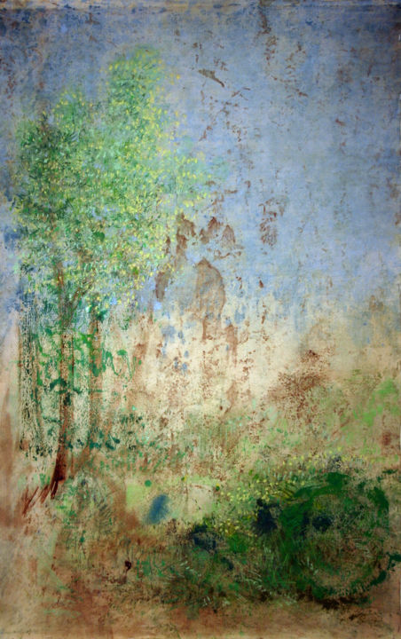 894-pp-depaysage-72x102-2018.jpg - Painting,  40.2x28.4 in, ©2019 by Richard Brachais -                                                                                                                                                                                                                                                                                                                                                                                                          Abstract, abstract-570, Nature, Landscape, nature, paysage, toile, figuration libre