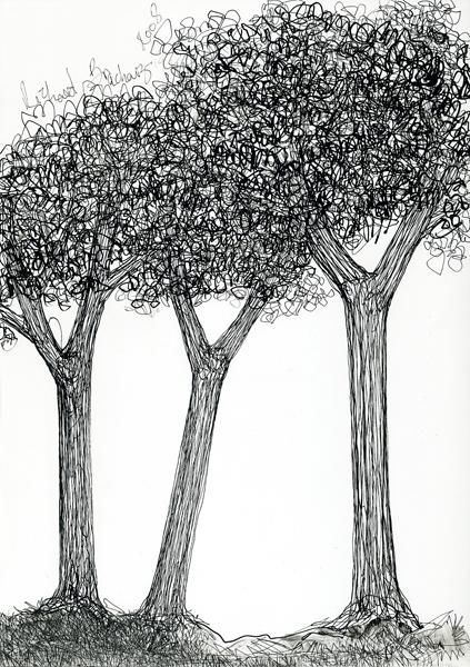 D28-série des arbres - Drawing,  11.4x8.3 in, ©2008 by Richard Brachais -                                                              Black and White