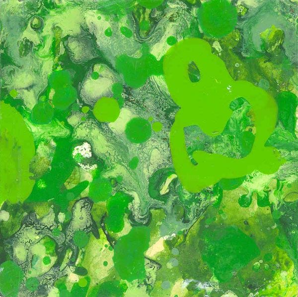 124-P Chromatisme - verdure... - Painting,  4.3x4.3 in, ©2005 by Richard Brachais -                                                              abstraction couleurs...