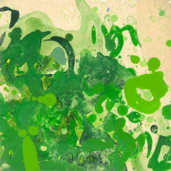 128-P Chromatisme - verdure... - Painting,  6.3x6.3 in, ©2005 by Richard Brachais -                                                              abstraction couleurs...