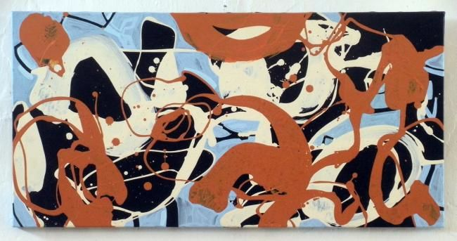 375-PA-abstraction-couleur - Painting,  15.8x31.5 in, ©2012 by Richard Brachais -                                                              abstraction couleurs...
