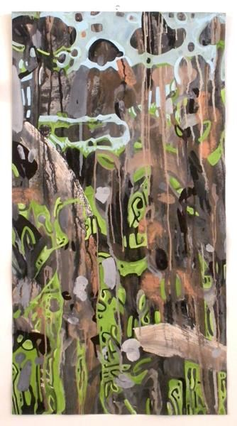 699-PB-bestiaire-1-III - Painting,  34.7x18.9 in, ©2012 by Richard Brachais -                                                              bestiaire - entre abstraction et figuration libre...
