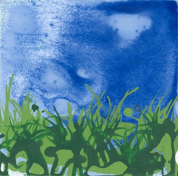 Paysage (motif et abstraction)-5/5 - Painting,  4.3x4.3 in, ©2006 by Richard Brachais -